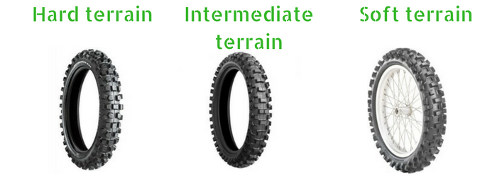Hard, intermediate and soft terrain dirt bike tires