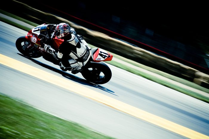 Superbike driving with bluetooth helmet