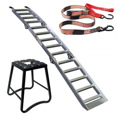 MotoSport Dirt bike loading ramp, Stand and Tiedowns Combo